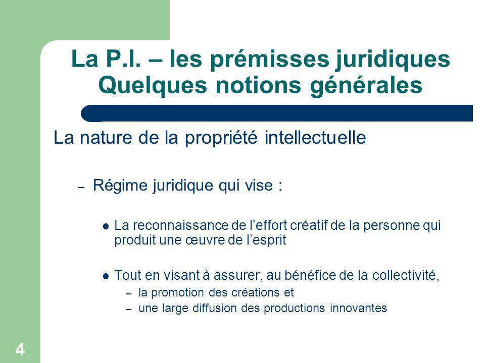 4 La P.I. – les prémisses juridiques Quelques notions générales La nature de la propriété intellectuelle – Régime juridique qui vise : La reconnaissan
