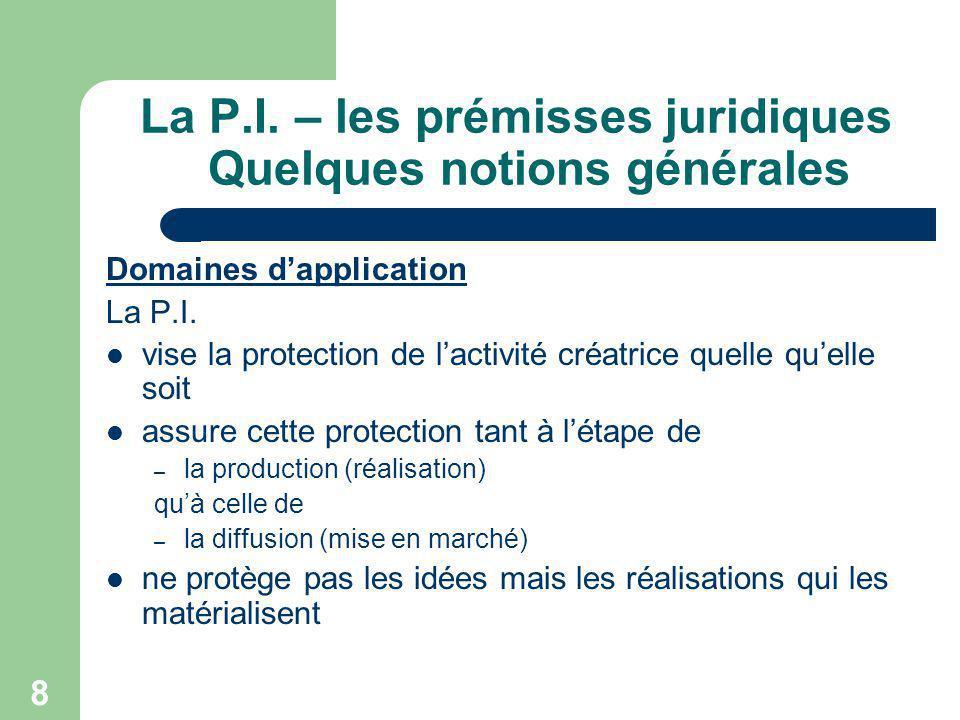 8 La P.I. – les prémisses juridiques Quelques notions générales Domaines dapplication La P.I. vise la protection de lactivité créatrice quelle quelle
