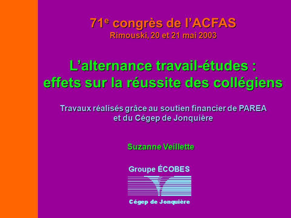 Travaux réalisés grâce au soutien financier de PAREA et du Cégep de Jonquière 71 e congrès de lACFAS Rimouski, 20 et 21 mai 2003 Lalternance travail-é