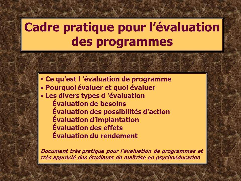 Cadre pratique pour lévaluation des programmes Ce quest l évaluation de programme Pourquoi évaluer et quoi évaluer Les divers types d évaluation Évalu