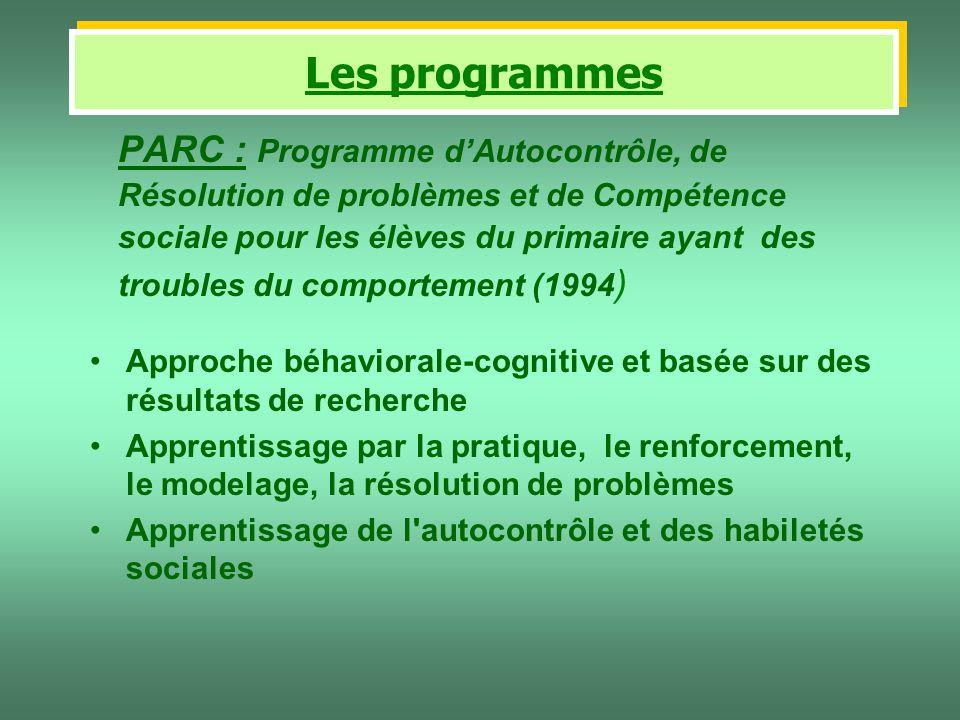 PARC : Programme dAutocontrôle, de Résolution de problèmes et de Compétence sociale pour les élèves du primaire ayant des troubles du comportement (19