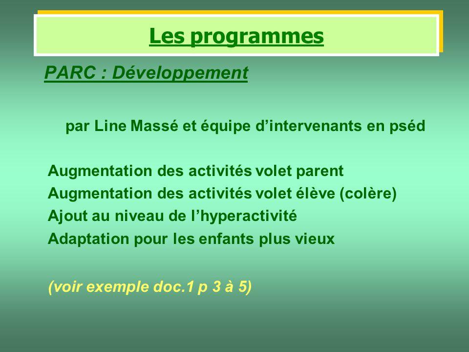 PARC : Développement par Line Massé et équipe dintervenants en pséd Augmentation des activités volet parent Augmentation des activités volet élève (co