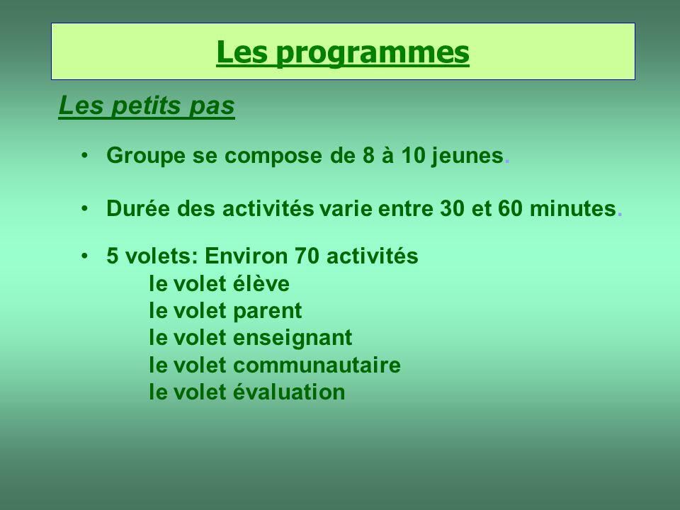 Les programmes Les petits pas 5 volets: Environ 70 activités le volet élève le volet parent le volet enseignant le volet communautaire le volet évalua