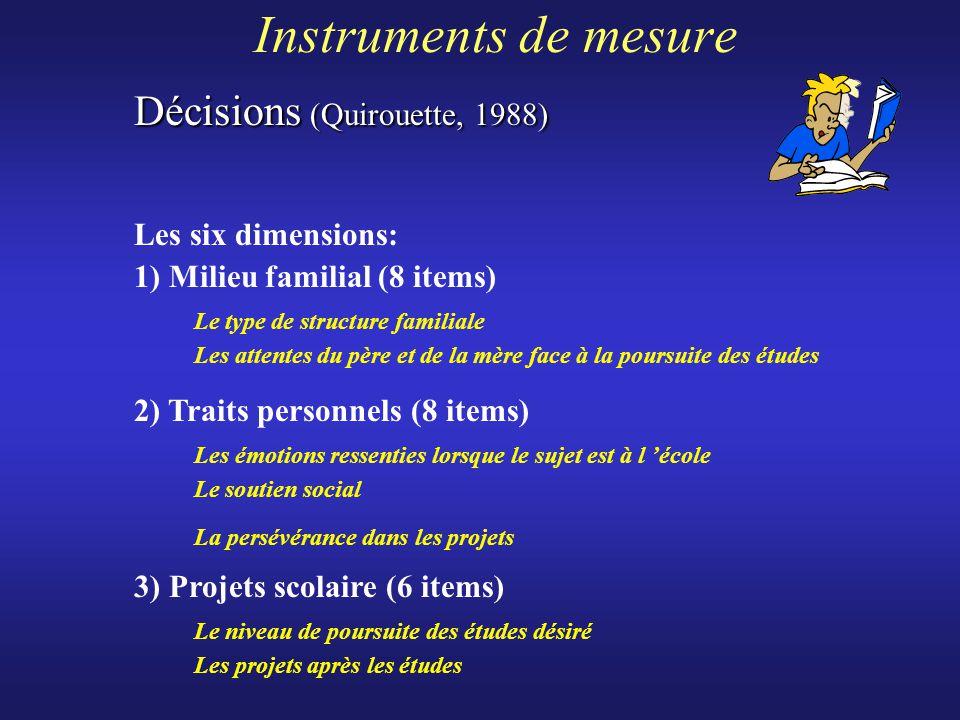 Instruments de mesure Les six dimensions: 1) Milieu familial (8 items) Le type de structure familiale Les attentes du père et de la mère face à la pou