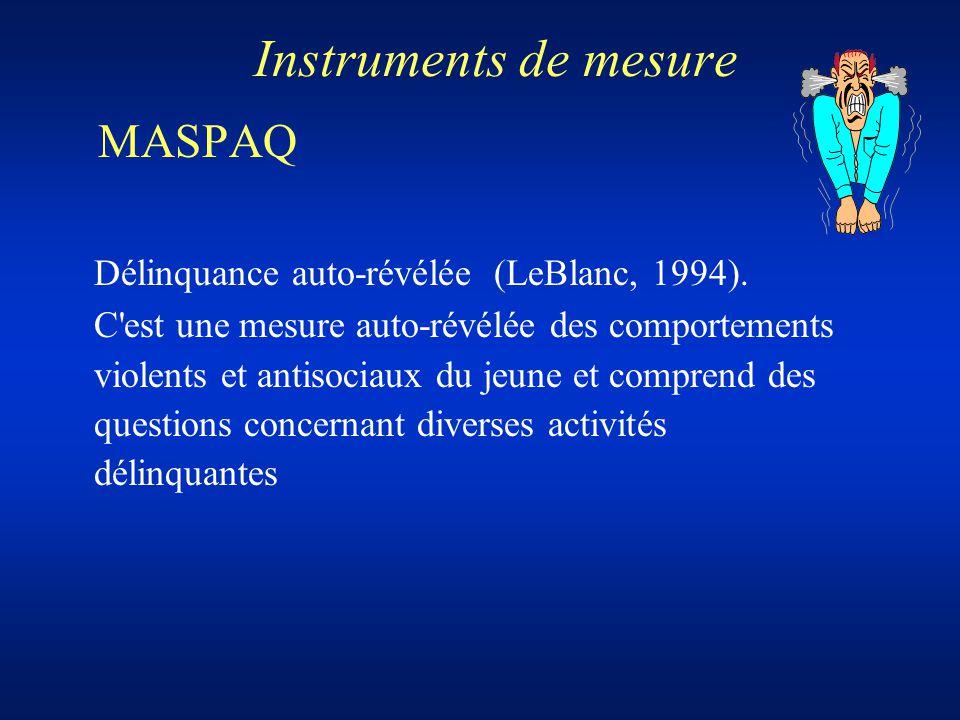 Instruments de mesure MASPAQ Délinquance auto-révélée (LeBlanc, 1994). C'est une mesure auto-révélée des comportements violents et antisociaux du jeun