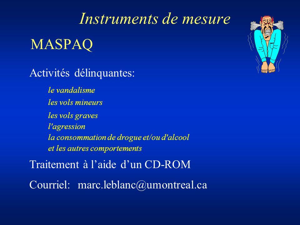 Instruments de mesure MASPAQ Activités délinquantes: le vandalisme les vols mineurs les vols graves l'agression la consommation de drogue et/ou d'alco