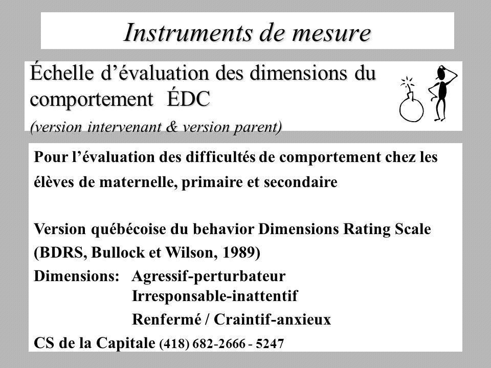 Instruments de mesure Échelle dévaluation des dimensions du comportement ÉDC (version intervenant & version parent) Pour lévaluation des difficultés d