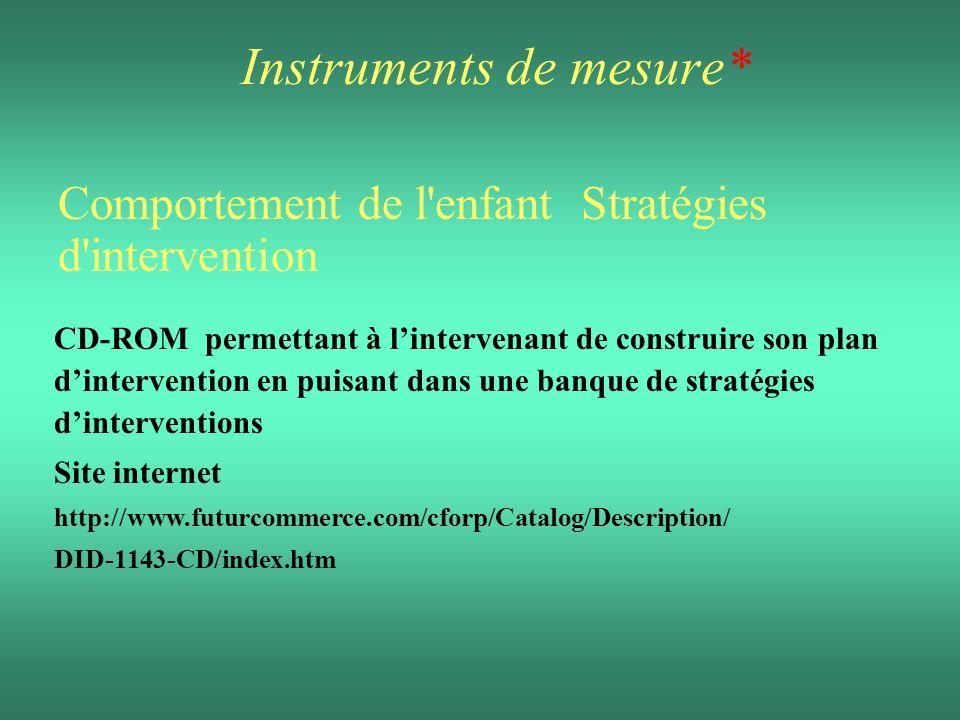 Instruments de mesure* Comportement de l'enfant Stratégies d'intervention CD-ROM permettant à lintervenant de construire son plan dintervention en pui