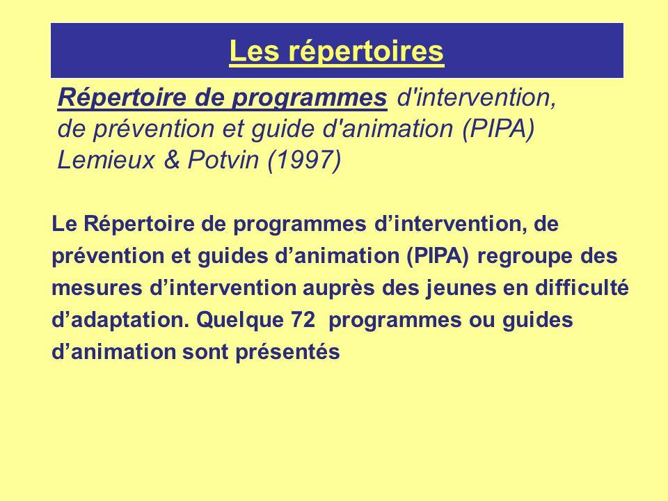 Les répertoires Répertoire de programmes d'intervention, de prévention et guide d'animation (PIPA) Lemieux & Potvin (1997) Le Répertoire de programmes