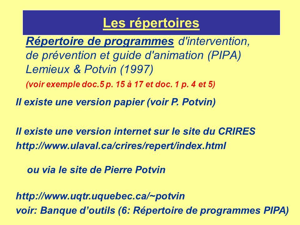 Les répertoires Répertoire de programmes d'intervention, de prévention et guide d'animation (PIPA) Lemieux & Potvin (1997) (voir exemple doc.5 p. 15 à