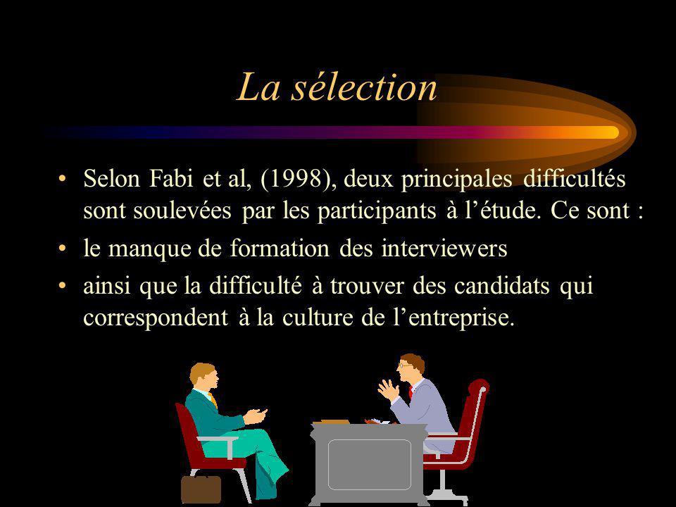 La sélection Selon Fabi et al, (1998), deux principales difficultés sont soulevées par les participants à létude. Ce sont : le manque de formation des
