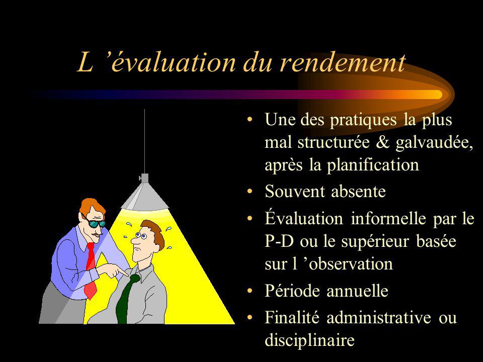 L évaluation du rendement Une des pratiques la plus mal structurée & galvaudée, après la planification Souvent absente Évaluation informelle par le P-