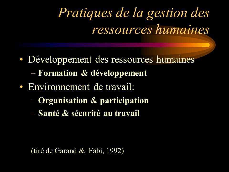 Pratiques de la gestion des ressources humaines Développement des ressources humaines –Formation & développement Environnement de travail: –Organisati