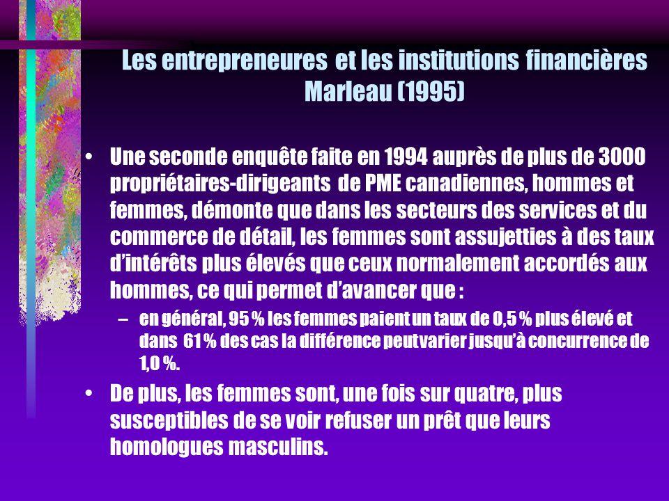 Les entrepreneures et les institutions financières Marleau (1995) Une seconde enquête faite en 1994 auprès de plus de 3000 propriétaires-dirigeants de