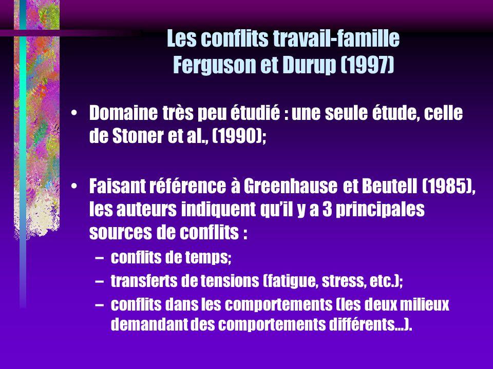 Les conflits travail-famille Ferguson et Durup (1997) Domaine très peu étudié : une seule étude, celle de Stoner et al., (1990); Faisant référence à G
