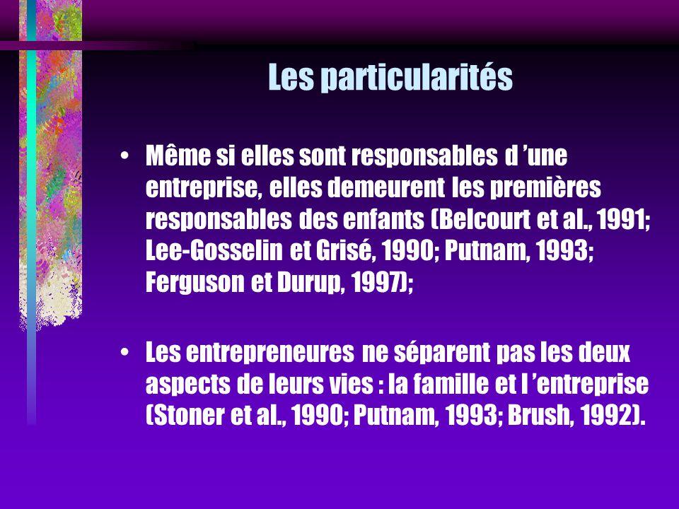 Les particularités Même si elles sont responsables d une entreprise, elles demeurent les premières responsables des enfants (Belcourt et al., 1991; Le