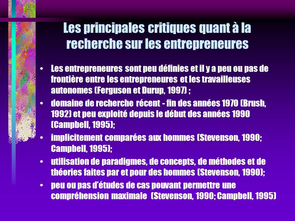 Les principales critiques quant à la recherche sur les entrepreneures Les entrepreneures sont peu définies et il y a peu ou pas de frontière entre les