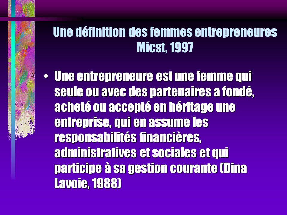 Une définition des femmes entrepreneures Micst, 1997 Une entrepreneure est une femme qui seule ou avec des partenaires a fondé, acheté ou accepté en h