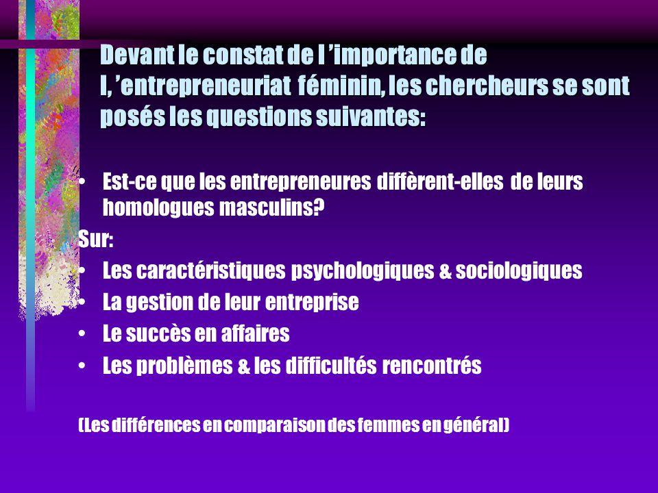 Devant le constat de l importance de l, entrepreneuriat féminin, les chercheurs se sont posés les questions suivantes: Est-ce que les entrepreneures d
