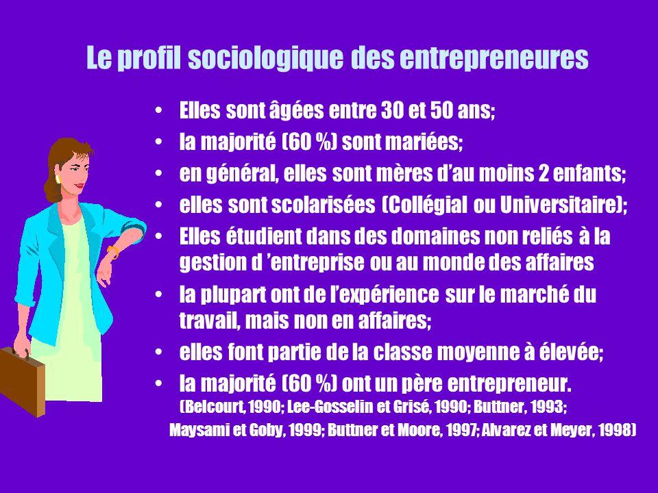 Le profil sociologique des entrepreneures Elles sont âgées entre 30 et 50 ans; la majorité (60 %) sont mariées; en général, elles sont mères dau moins