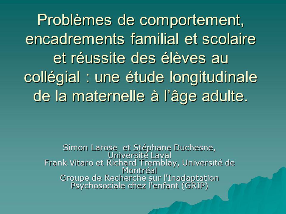 Problèmes de comportement, encadrements familial et scolaire et réussite des élèves au collégial : une étude longitudinale de la maternelle à lâge adu
