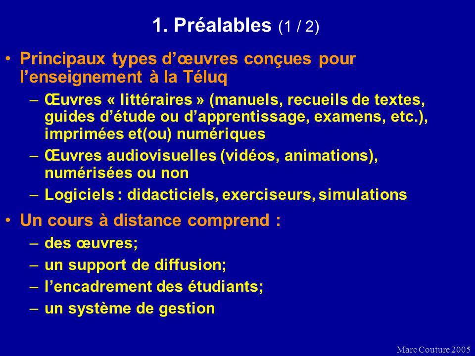 Marc Couture 2005 1. Préalables (1 / 2) Principaux types dœuvres conçues pour lenseignement à la Téluq –Œuvres « littéraires » (manuels, recueils de t