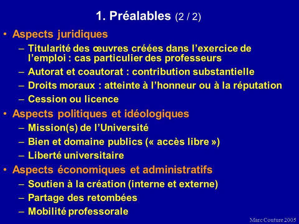 Marc Couture 2005 1. Préalables (2 / 2) Aspects juridiques –Titularité des œuvres créées dans lexercice de lemploi : cas particulier des professeurs –