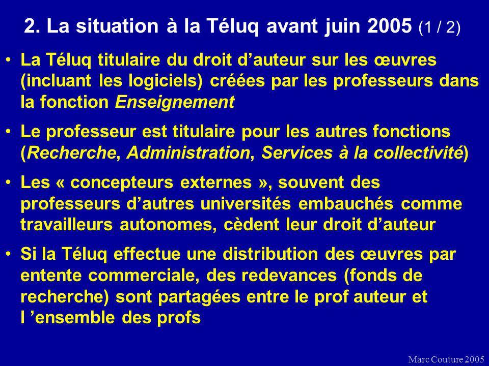 Marc Couture 2005 2. La situation à la Téluq avant juin 2005 (1 / 2) La Téluq titulaire du droit dauteur sur les œuvres (incluant les logiciels) créée