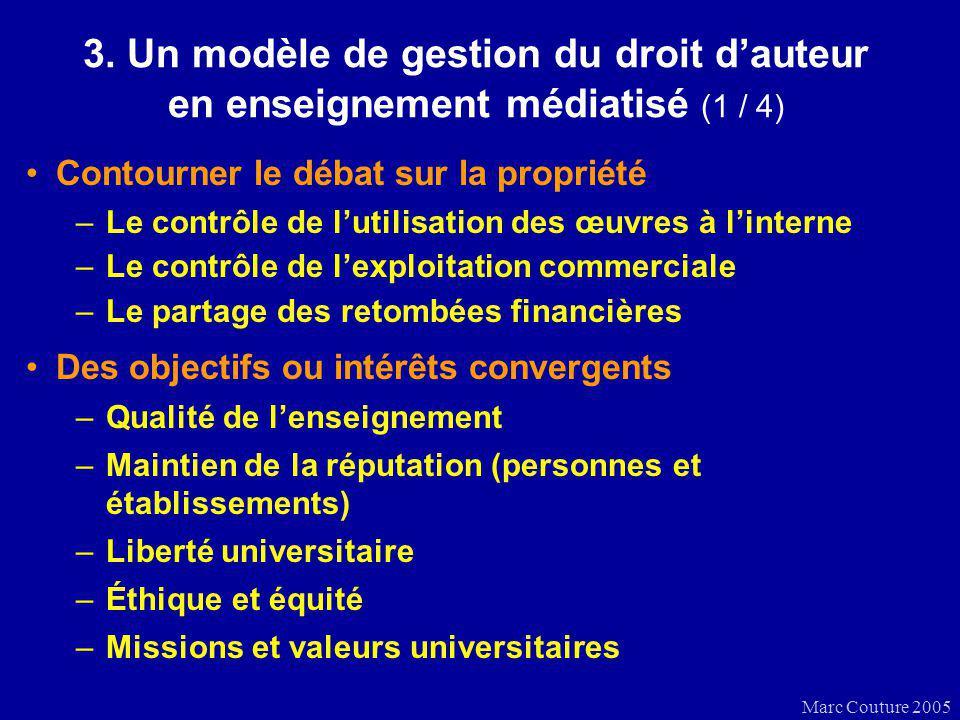 Marc Couture 2005 3. Un modèle de gestion du droit dauteur en enseignement médiatisé (1 / 4) Contourner le débat sur la propriété –Le contrôle de luti