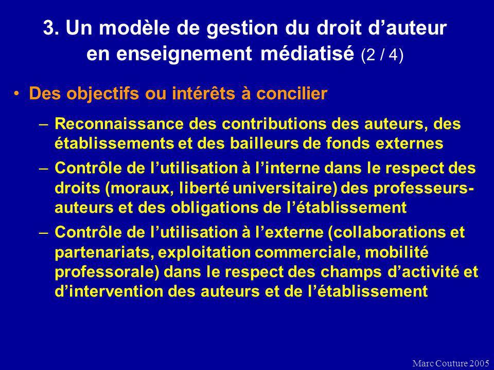 Marc Couture 2005 3. Un modèle de gestion du droit dauteur en enseignement médiatisé (2 / 4) Des objectifs ou intérêts à concilier –Reconnaissance des