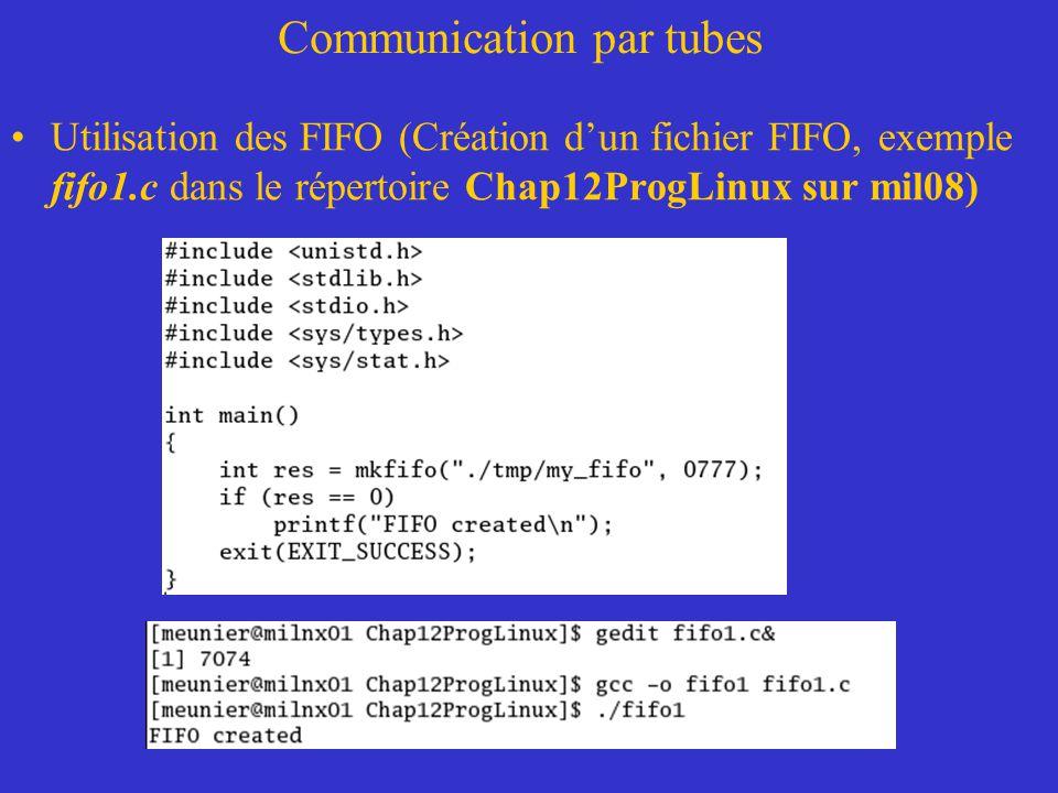 Communication par tubes Utilisation des FIFO (Création dun fichier FIFO, exemple fifo1.c dans le répertoire Chap12ProgLinux sur mil08)