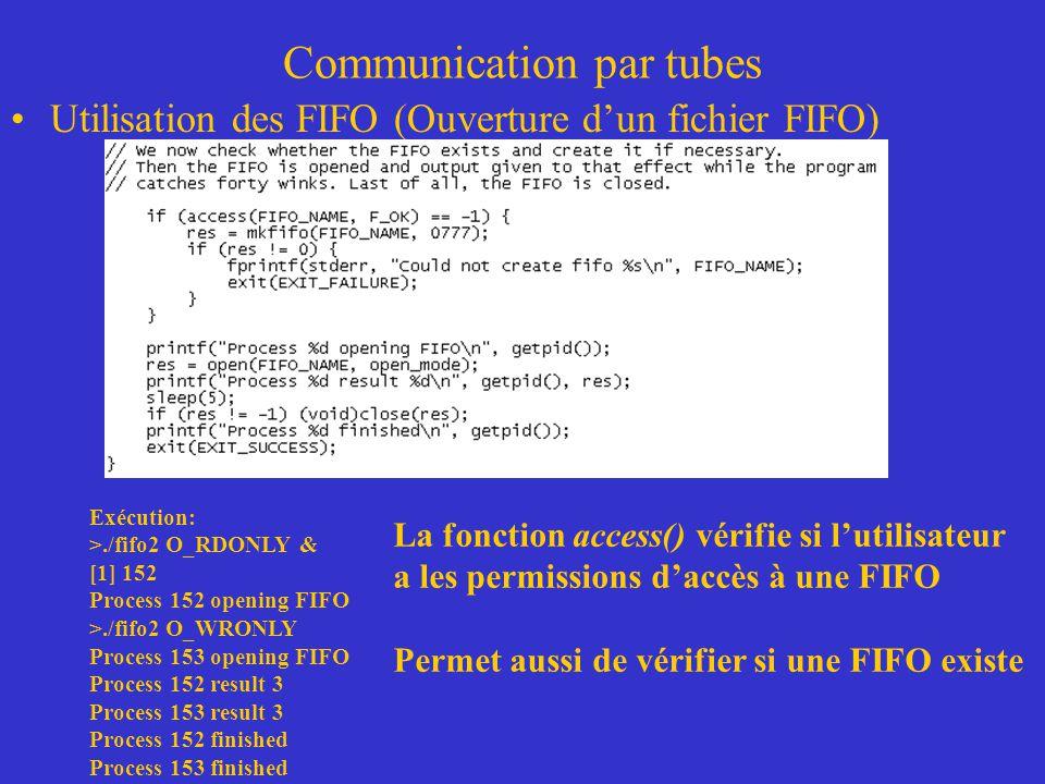 Communication par tubes Utilisation des FIFO (Ouverture dun fichier FIFO) Exécution: >./fifo2 O_RDONLY & [1] 152 Process 152 opening FIFO >./fifo2 O_WRONLY Process 153 opening FIFO Process 152 result 3 Process 153 result 3 Process 152 finished Process 153 finished La fonction access() vérifie si lutilisateur a les permissions daccès à une FIFO Permet aussi de vérifier si une FIFO existe