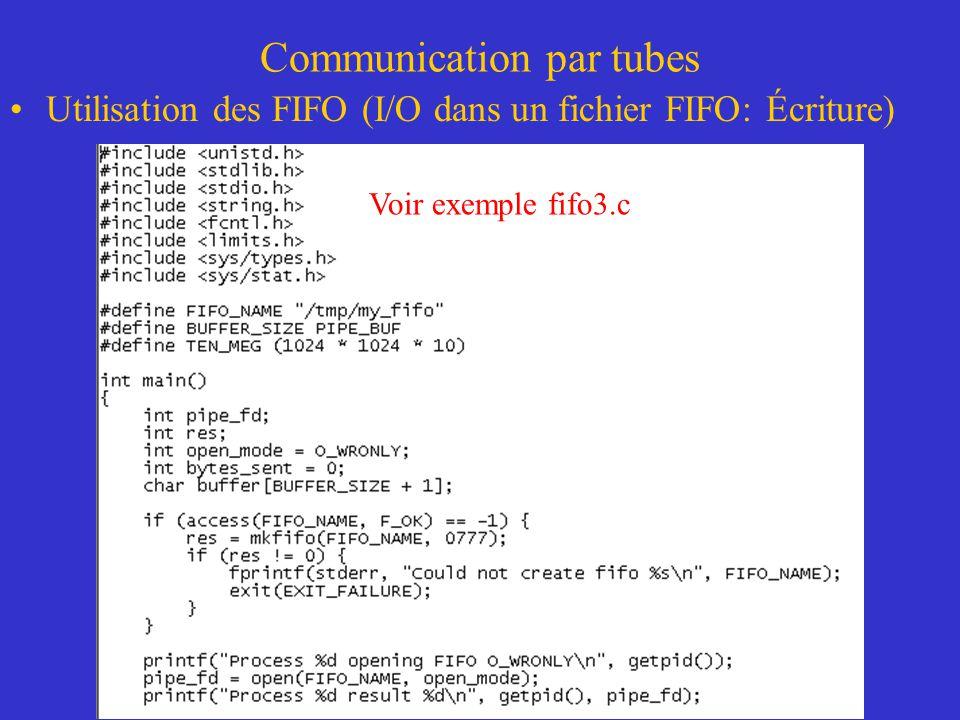 Communication par tubes Utilisation des FIFO (I/O dans un fichier FIFO: Écriture) Voir exemple fifo3.c