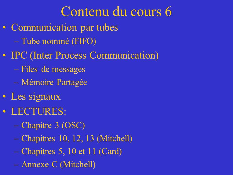 Contenu du cours 6 Communication par tubes –Tube nommé (FIFO) IPC (Inter Process Communication) –Files de messages –Mémoire Partagée Les signaux LECTURES: –Chapitre 3 (OSC) –Chapitres 10, 12, 13 (Mitchell) –Chapitres 5, 10 et 11 (Card) –Annexe C (Mitchell)
