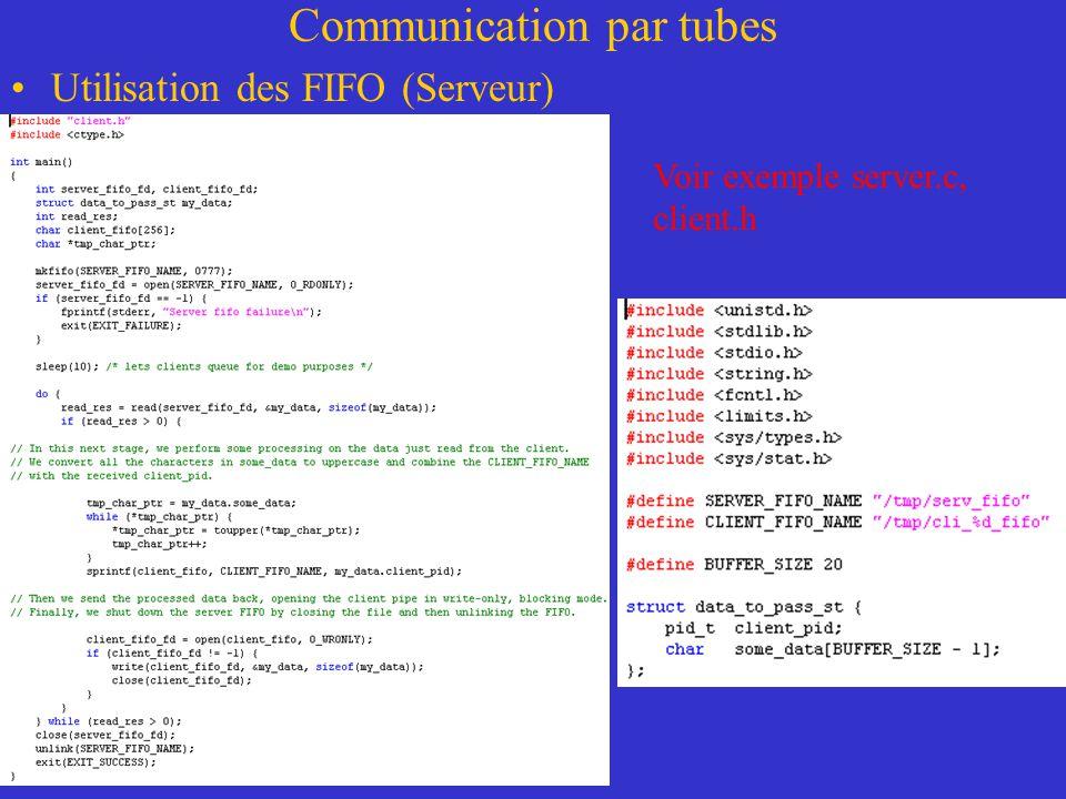 Communication par tubes Utilisation des FIFO (Serveur) Voir exemple server.c, client.h