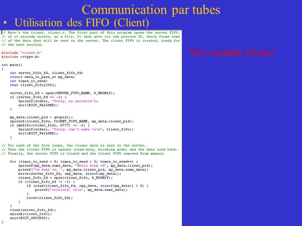 Communication par tubes Utilisation des FIFO (Client) Voir exemple client.c