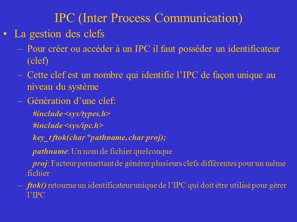 IPC (Inter Process Communication) La gestion des clefs –Pour créer ou accéder à un IPC il faut posséder un identificateur (clef) –Cette clef est un nombre qui identifie lIPC de façon unique au niveau du système –Génération dune clef: #include key_t ftok(char *pathname, char proj); pathname: Un nom de fichier quelconque proj: Facteur permettant de générer plusieurs clefs différentes pour un même fichier –ftok() retourne un identificateur unique de lIPC qui doit être utilisé pour gérer lIPC