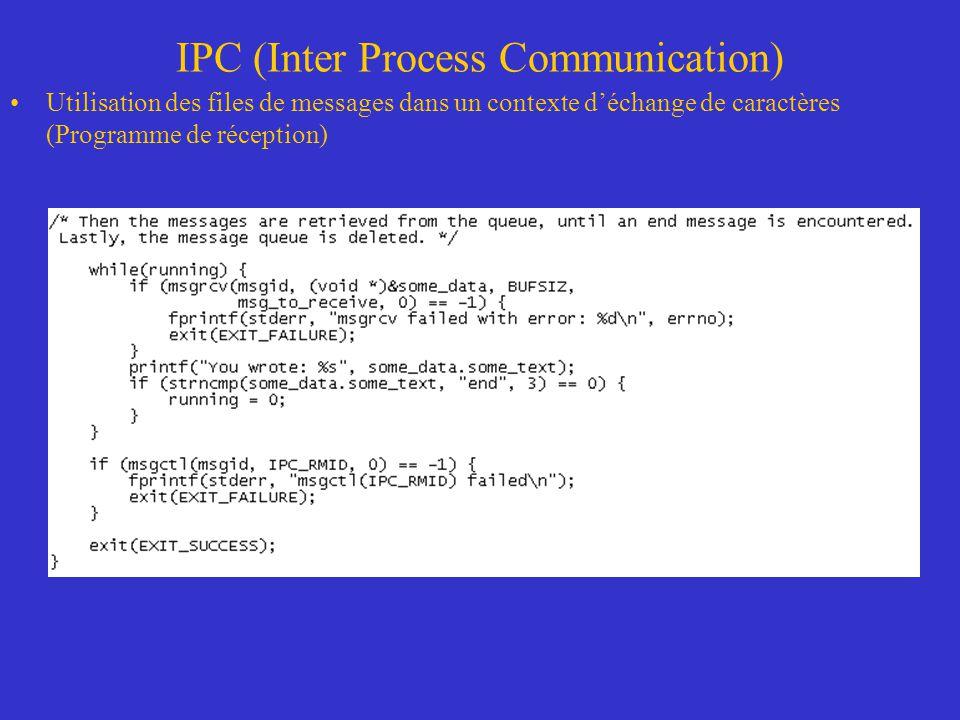 IPC (Inter Process Communication) Utilisation des files de messages dans un contexte déchange de caractères (Programme de réception)