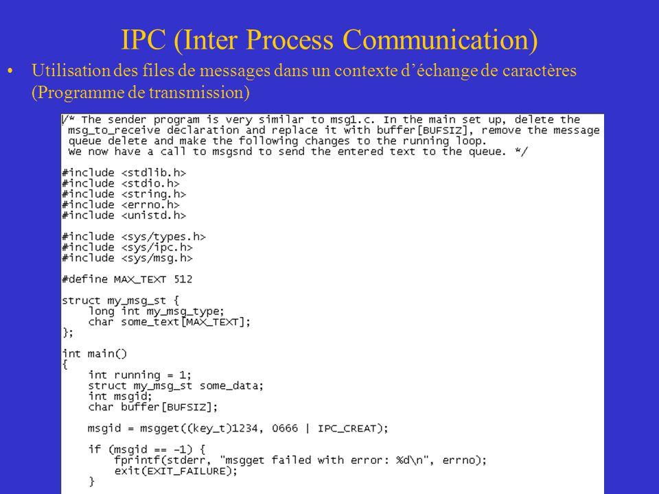 IPC (Inter Process Communication) Utilisation des files de messages dans un contexte déchange de caractères (Programme de transmission)