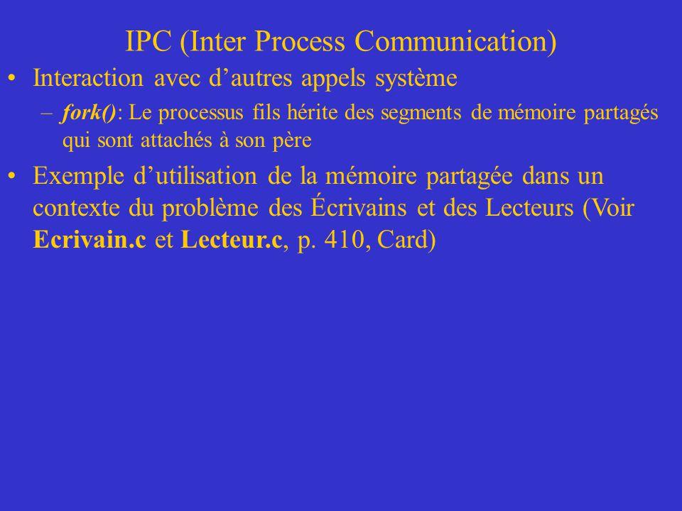 IPC (Inter Process Communication) Interaction avec dautres appels système –fork(): Le processus fils hérite des segments de mémoire partagés qui sont attachés à son père Exemple dutilisation de la mémoire partagée dans un contexte du problème des Écrivains et des Lecteurs (Voir Ecrivain.c et Lecteur.c, p.