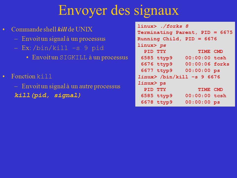 Envoyer des signaux Commande shell kill de UNIX –Envoit un signal à un processus –Ex: /bin/kill –s 9 pid Envoit un SIGKILL à un processus Fonction kill –Envoit un signal à un autre processus kill(pid, signal) linux>./forks 8 Terminating Parent, PID = 6675 Running Child, PID = 6676 linux> ps PID TTY TIME CMD 6585 ttyp9 00:00:00 tcsh 6676 ttyp9 00:00:06 forks 6677 ttyp9 00:00:00 ps linux> /bin/kill –s 9 6676 linux> ps PID TTY TIME CMD 6585 ttyp9 00:00:00 tcsh 6678 ttyp9 00:00:00 ps