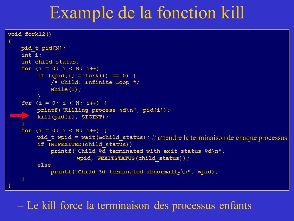 Example de la fonction kill –Le kill force la terminaison des processus enfants void fork12() { pid_t pid[N]; int i; int child_status; for (i = 0; i <