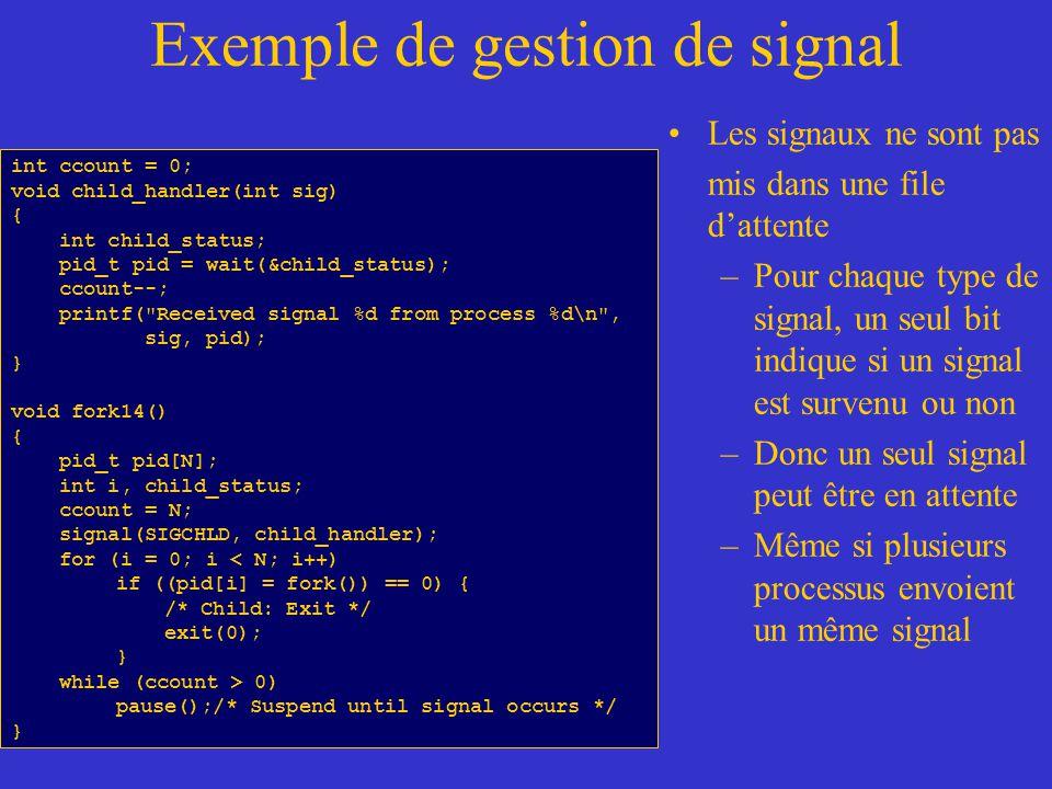 Exemple de gestion de signal Les signaux ne sont pas mis dans une file dattente –Pour chaque type de signal, un seul bit indique si un signal est survenu ou non –Donc un seul signal peut être en attente –Même si plusieurs processus envoient un même signal int ccount = 0; void child_handler(int sig) { int child_status; pid_t pid = wait(&child_status); ccount--; printf( Received signal %d from process %d\n , sig, pid); } void fork14() { pid_t pid[N]; int i, child_status; ccount = N; signal(SIGCHLD, child_handler); for (i = 0; i < N; i++) if ((pid[i] = fork()) == 0) { /* Child: Exit */ exit(0); } while (ccount > 0) pause();/* Suspend until signal occurs */ }