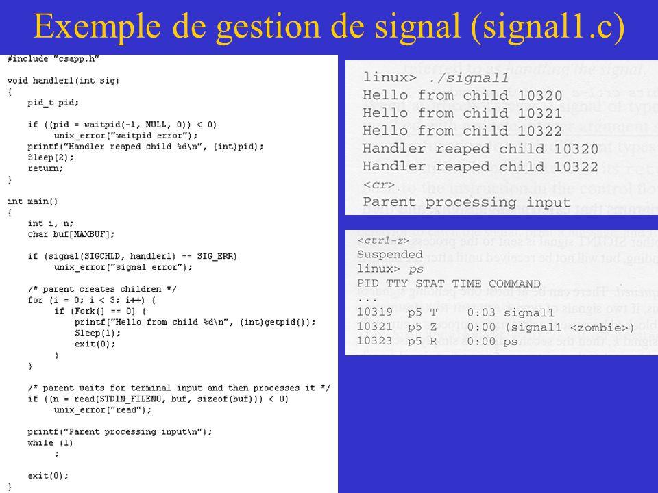 Exemple de gestion de signal (signal1.c)