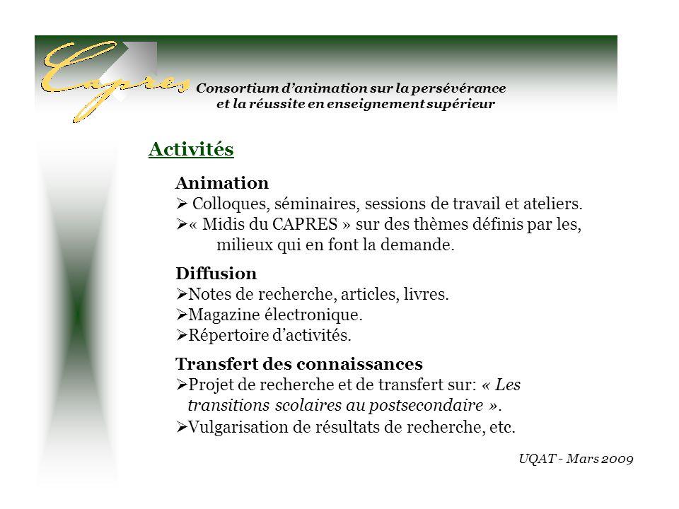 Consortium danimation sur la persévérance et la réussite en enseignement supérieur Animation Colloques, séminaires, sessions de travail et ateliers.