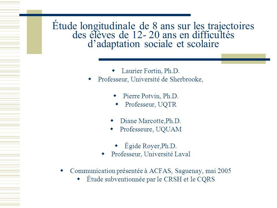 Étude longitudinale de 8 ans sur les trajectoires des élèves de 12- 20 ans en difficultés dadaptation sociale et scolaire Laurier Fortin, Ph.D.