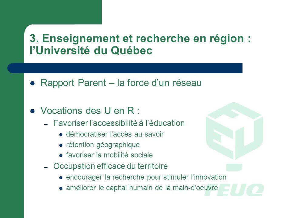 3. Enseignement et recherche en région : lUniversité du Québec Rapport Parent – la force dun réseau Vocations des U en R : – Favoriser laccessibilité