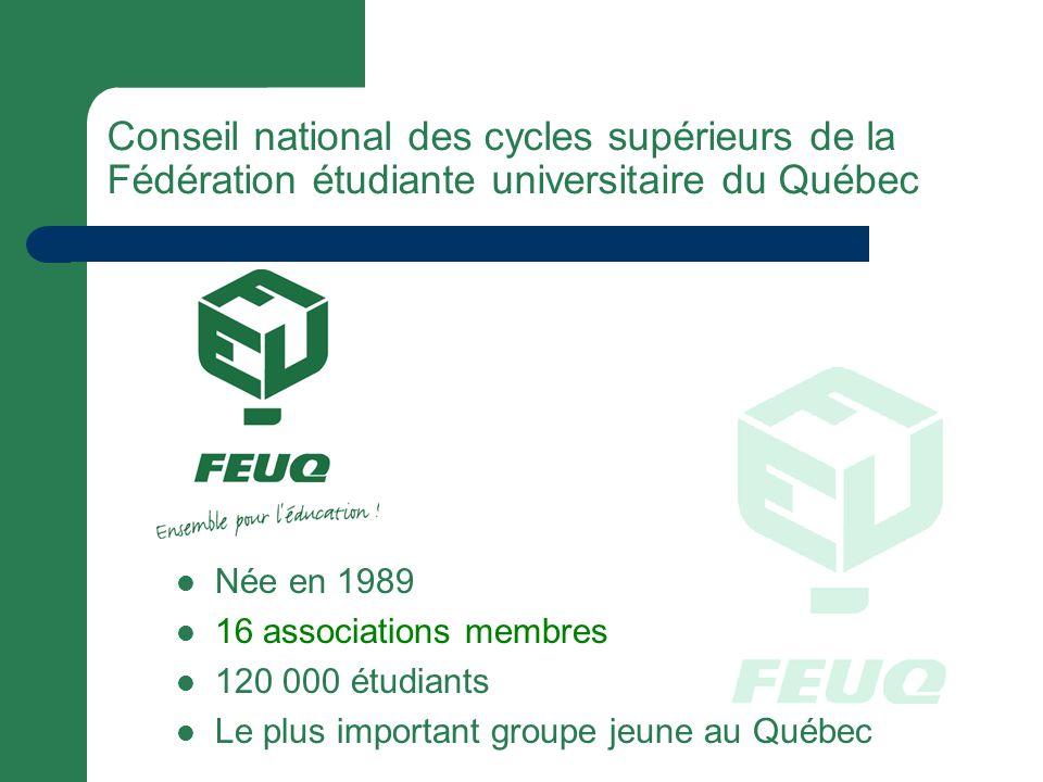 Née en 1989 16 associations membres 120 000 étudiants Le plus important groupe jeune au Québec Conseil national des cycles supérieurs de la Fédération étudiante universitaire du Québec