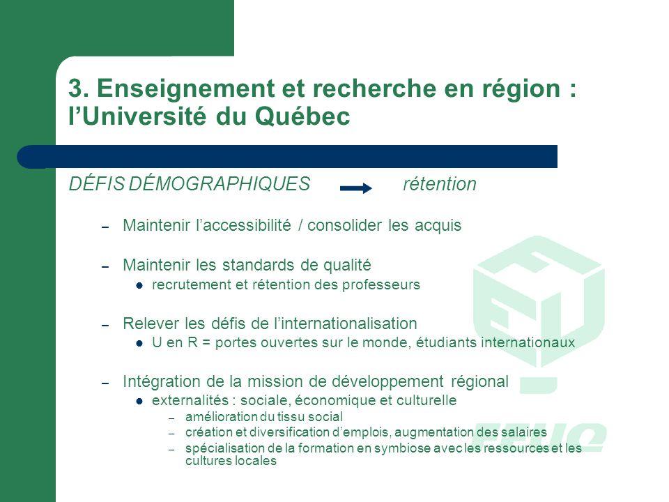 3. Enseignement et recherche en région : lUniversité du Québec DÉFIS DÉMOGRAPHIQUESrétention – Maintenir laccessibilité / consolider les acquis – Main