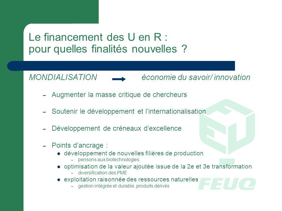 Le financement des U en R : pour quelles finalités nouvelles .